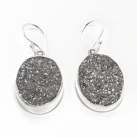 Sterling Silver Oval Druzy Earrings