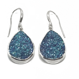 Sterling Silver Blueish Druzy Earrings