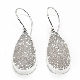 Sterling Silver White Druzy Earrings