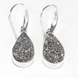 Sterling Silver Silver Druzy Earrings