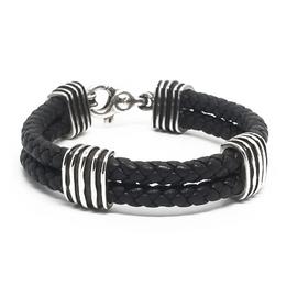 Sterling Double Black Leather Bracelet