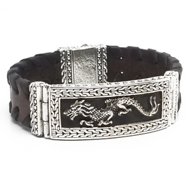 Sterling Silver and Leather Dragon Bracelet