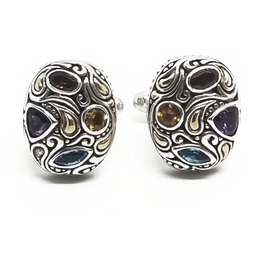 Sterling Silver and 18KY Multi Gem Cufflinks