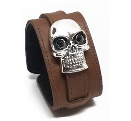 Brown Leather Sterling Skull Bracelet