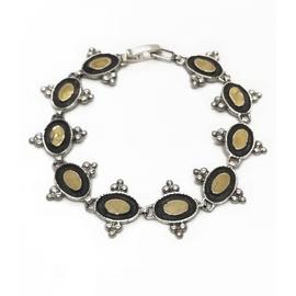 Sterling Silver and 9KY Oval Bracelet