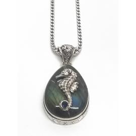 Sterling Silver Labradorite and Seahorse Pendant