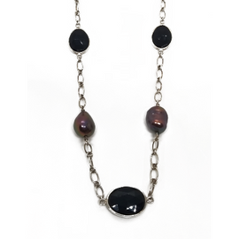 Sterling Silver Long Pearl and Onyx Necklace