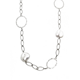 Sterling Silver Long Pearl Necklace