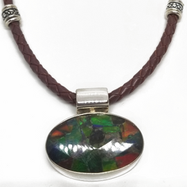 Leather Necklace and Ammolite Pendant