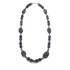 Sterling Silver Labradorite and Amethyst Necklace