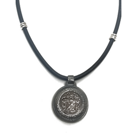 Sterling Silver Crest and Leather Necklace