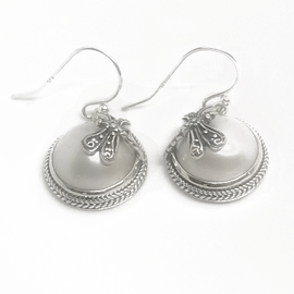 Sterling Silver Dragonfly Pearl Earrings