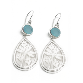 Sterling Silver Chalcendony and Mother of Pearl Earrings