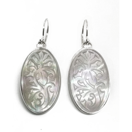Sterling Silver Handcarved Mother of Pearl Earrings