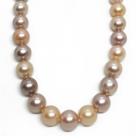 14KR Champagne  24 Round Pearl Necklace