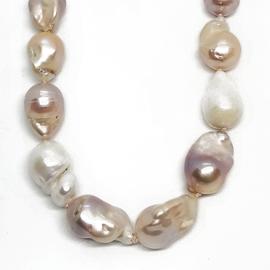 Sterling Silver Creamy Baroque Pearl Necklace