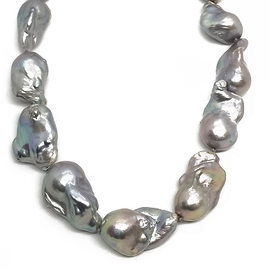 Sterling Silver Greyish Pearl Necklace