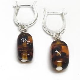 Sterling Silver Amber Huggie Earrings