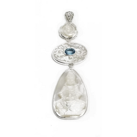 Sterling Silver Mother of Pearl Buddha with Blue Topaz Pendant