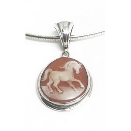 Sterling Silver Hand Carved Horse Cameo