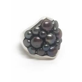 Sterling Silver Multi Black Pearl Ring