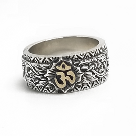 Sterling Silver and 14KY Ohm Ring
