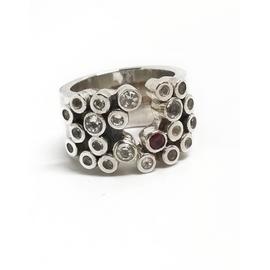 Sterling Silver White Topaz and Garnet Ring