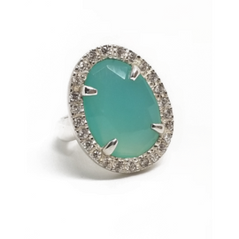 Sterling Silver Chalcedony Stone Ring
