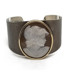Oxidized Sterling Silver and 14KY Cameo Cuff