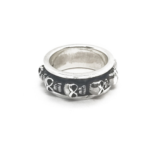 Sterling Silver Spinner Skull Ring
