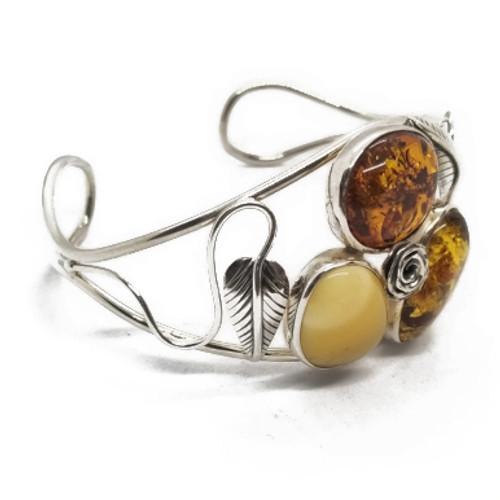 Sterling Silver Tri-Color Amber Cuff