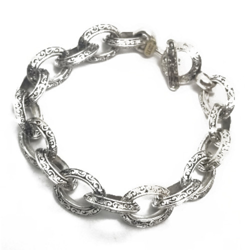 Sterling Silver Braccio Engraved Bracelet