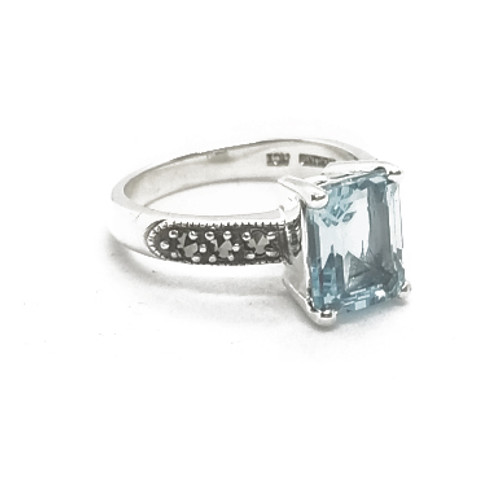 Sterling Silver Marcasite and Blue Topaz Ring