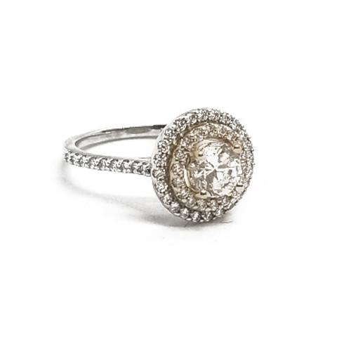 14K White and Yellow Gold Round Diamond Halo Ring