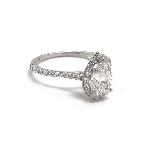 14K White Gold Pear Shape Diamond Ring
