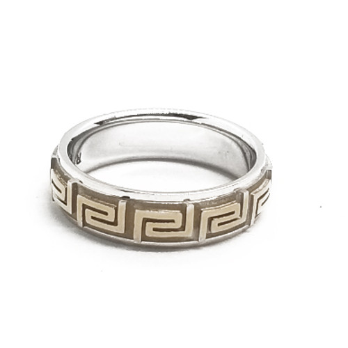 14K Two Tone Greek Key Band