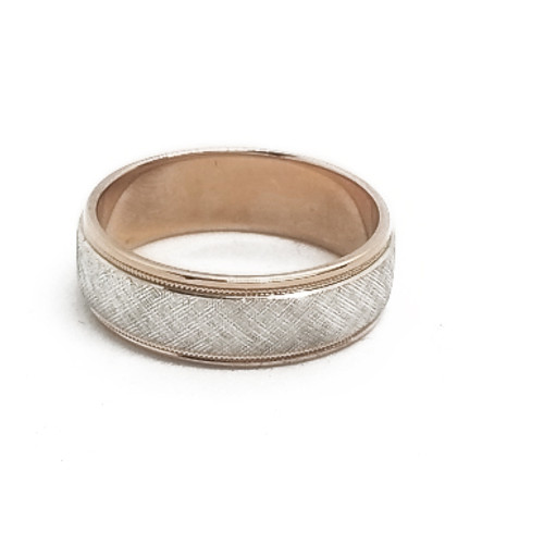 14K Rose and White Gold Band
