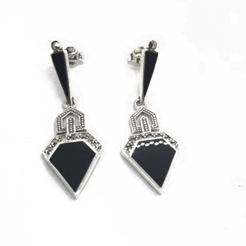 Sterling Onyx and Marcasite Earrings