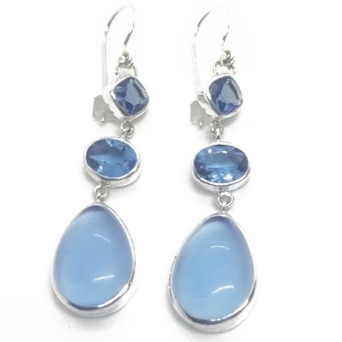 Sterling Sapphire Quartz Earrings
