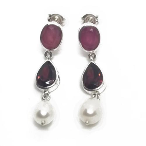 Sterling Ruby, Garnet and Pearl Earrings