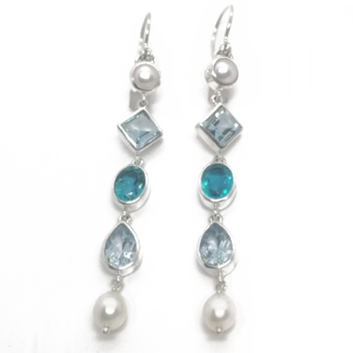 Sterling Silver Blue Topaz and Pearl Earrings