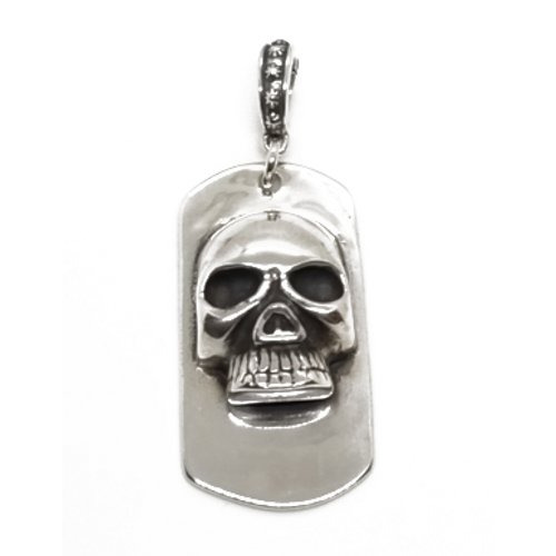 Sterling Silver Brotherhood of the Skull Dog Tag Pendant