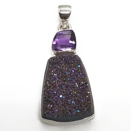 Sterling Silver Druzy Pendant with Amethyst