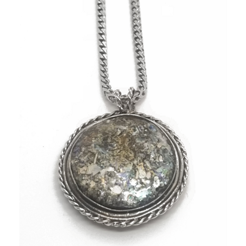 Sterling Silver Ancient Roman Glass Pendant With Rope Border