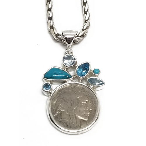 Sterling Silver Buffalo Nickel w/Turquoise and Blue Topaz