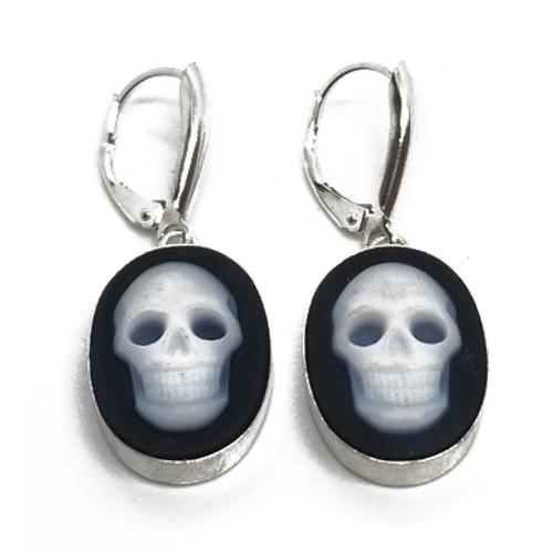 Sterling Silver Blue Agate Skull Earrings