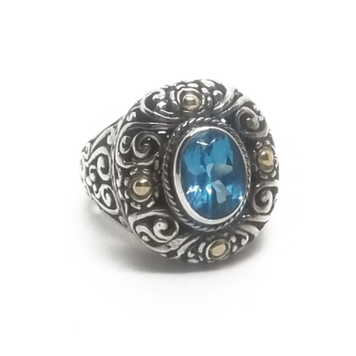 Sterling Silver and 18KY Blue Topaz Ring