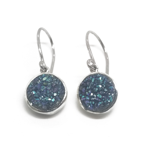 Sterling Silver Round Druzy Earrings