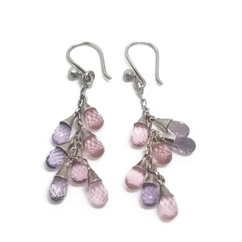 Sterling Silver Amethyst and Pink Tourmaline Earrings