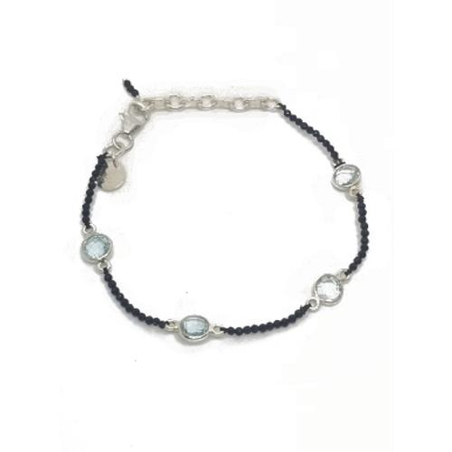 Sterling Silver Black Spinel and Blue Topaz Bracelet